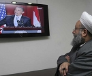 A Lebanese Sunni sheikh watches President Barack Obama's key Mideast speech from his office in the city of Sidon, June 4, 2009. (AP)