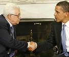 President Obama shakes hands with Palestinian President Mahmoud Abbas in the Oval Office of the White House, May 28, 2009. (AP)